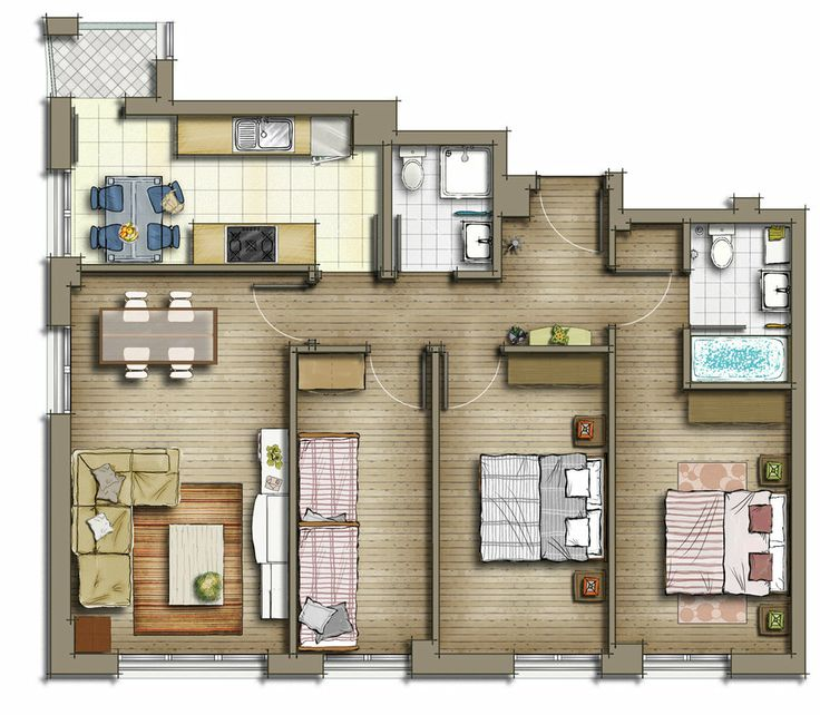 Three 39 s company apartment layout more like for Rendered floor plan