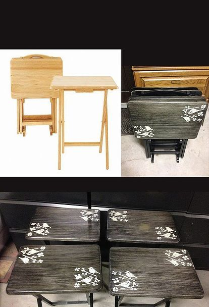 bring those ugly tv trays back to life diy, painted furniture, repurposing upcycling, Before and After