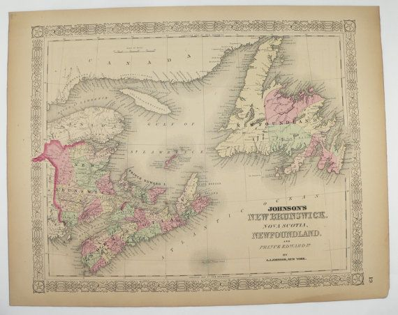 Antique Map of New Brunswick Newfoundland Map Nova Scotia Canada Map 1867 Johnson Map, Prince Edward Island, Canada Wedding Gift for Couple available from OldMapsandPrints on Etsy