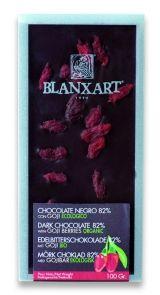 Blanxart 100g. Ciocolata organica neagra cu goji. BIO