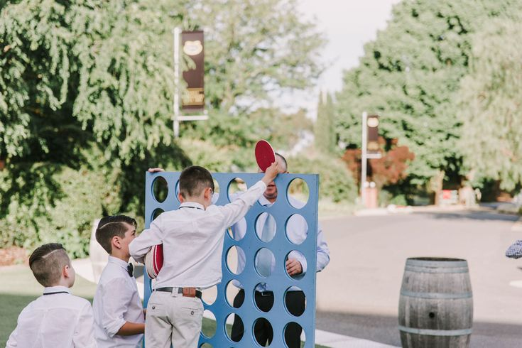 Brown Brothers Milawa Wedding Page Boys Connect 4 Wedding lawn games