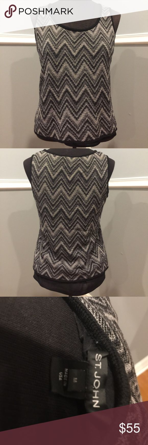 """🎀St. John Chevron top M Excellent condition lined top by St. John.  Bust 17"""" length 21"""" St. John Tops"""