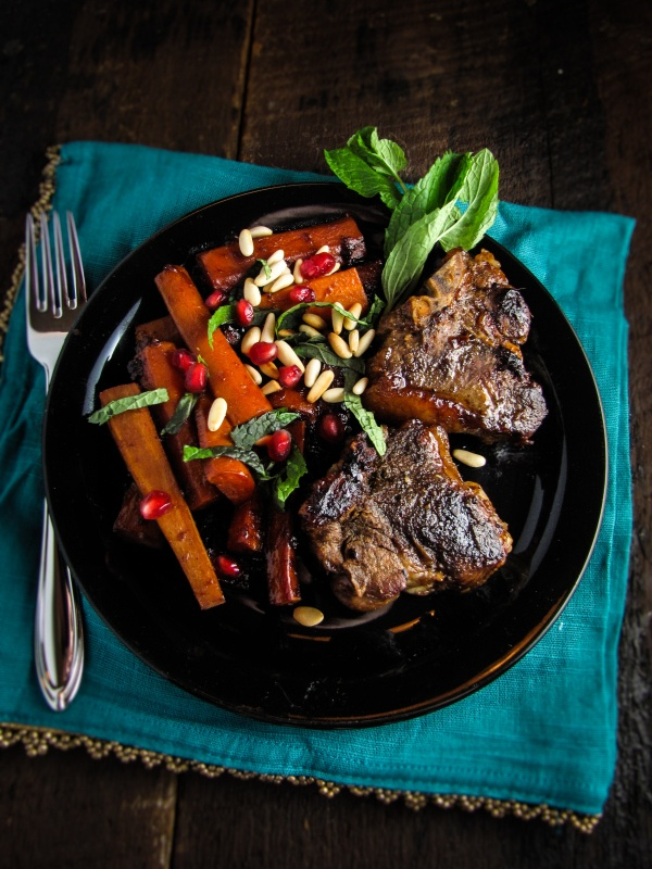 The Great Meat Cookbook: Pomegranate-Glazed Lamb Chops and Carrots | Katie at the Kitchen Door