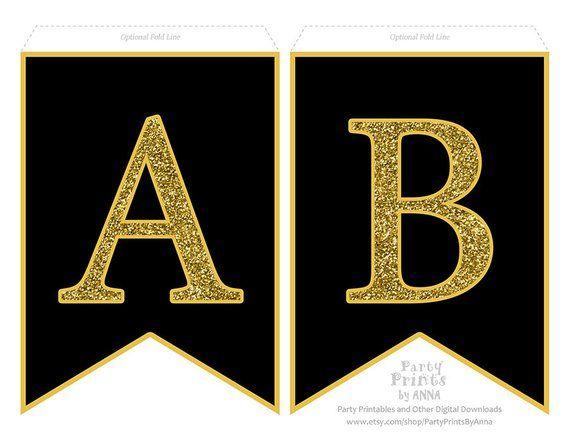 Printable Alphabet Letter Banner Gold Glitter On Black A Z Etsy Printable Banner Letters Printable Alphabet Letters Free Printable Banner Letters