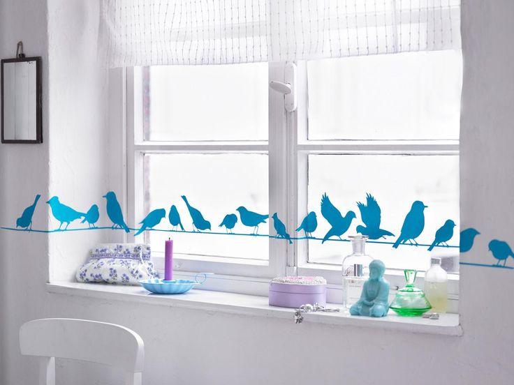 Fenstertattoo: Vögel auf einem Seil