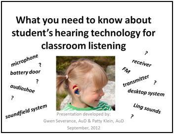 Power-point for general education teachers regarding hearing loss