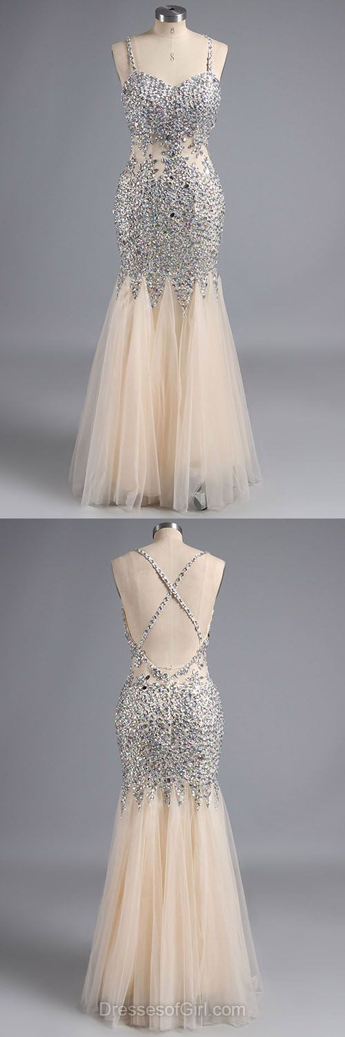 Exclusive V-neck Party Dresses, Backless Tulle Formal Dresses, Crystal Detailing Mermaid Prom Dresses, Gold Long Evening Gowns