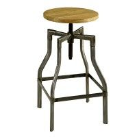 Industrial Vintage Barhocker gunmetal aus Eisen, höhenverstellbar und mit Holzsitz ist ideal für Gastro, Bar und Cafe. Retro Möbel günstig online bestellen bei Fabrikschick.de