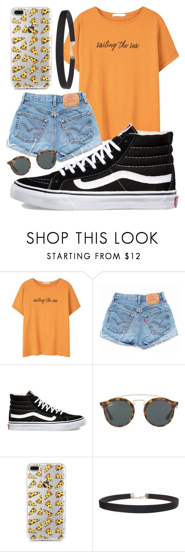 """"""""""" by jadenriley21 ❤ liked on Polyvore featuring MANGO, Levi's, Vans, Ray-Ban and Humble Chic"""