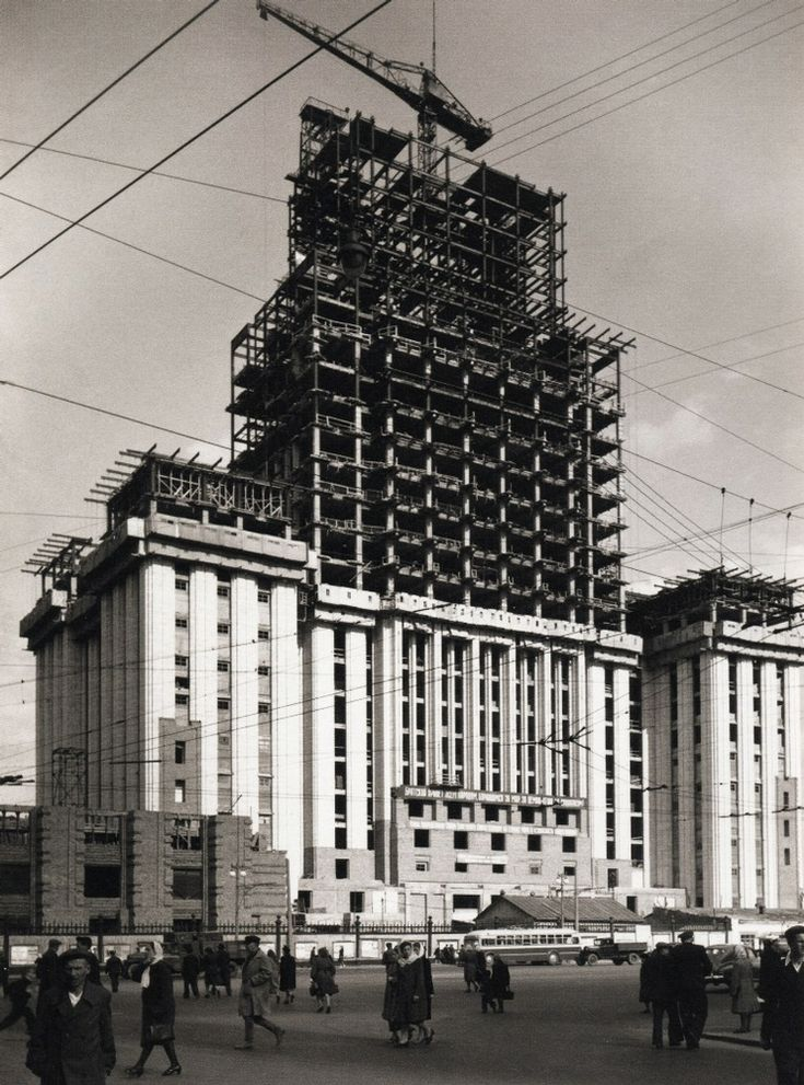 Building under construction, 1950s
