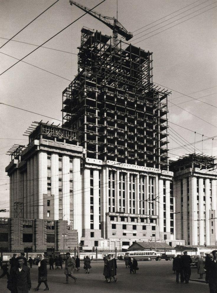 Building under construction, 1950s