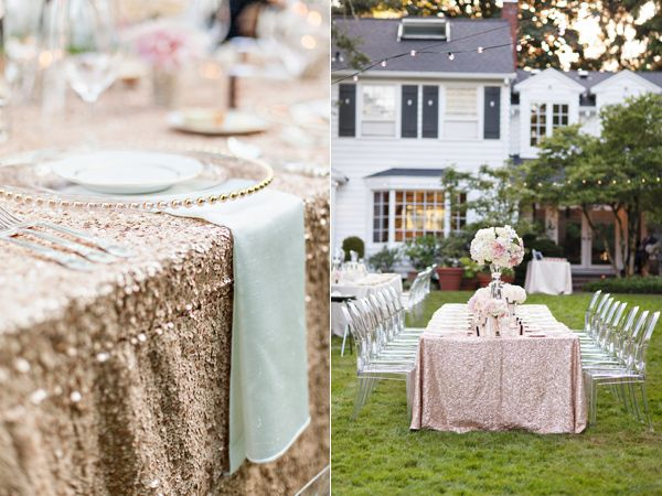 sequin table cloth for bridal party's table
