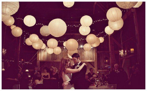 Paper Lanterns create a dreamy, romantic atmosphere in this lovely, Vintage Autumn Wedding. @Rustic Wedding Chic