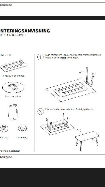 Montering av bordsben