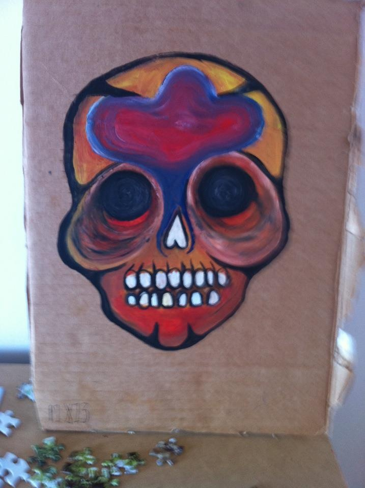 mexican sugar skull , oil and cardboard