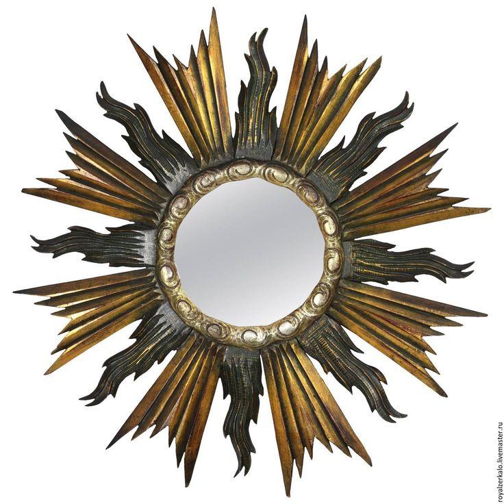 Купить Зеркало солнце интерьерное Eustella в стиле испанского Барокко - золотой, зеркало солнце