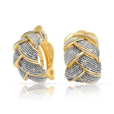 Bling Jewelry Two Tone Braided Cable Woven Half Hoop Clip On Earrings Gold Plated