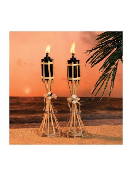 """Tabletop Bamboo Polynesian 13"""" Tiki Torches - Decorations and Individual Party Supplies"""
