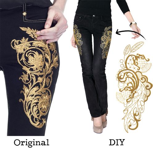 Get inspired by these stunning gold embroidered jeans from Versace and see how you can get a similar look for a lot less with your embroidery machine.