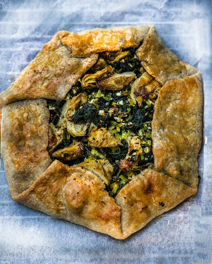Wild Greens Galette with Artichokes and Feta