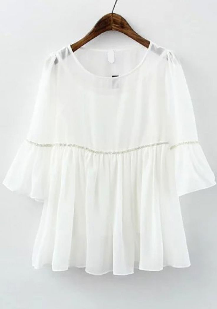 Ruffle Sleeve Chiffon White Top