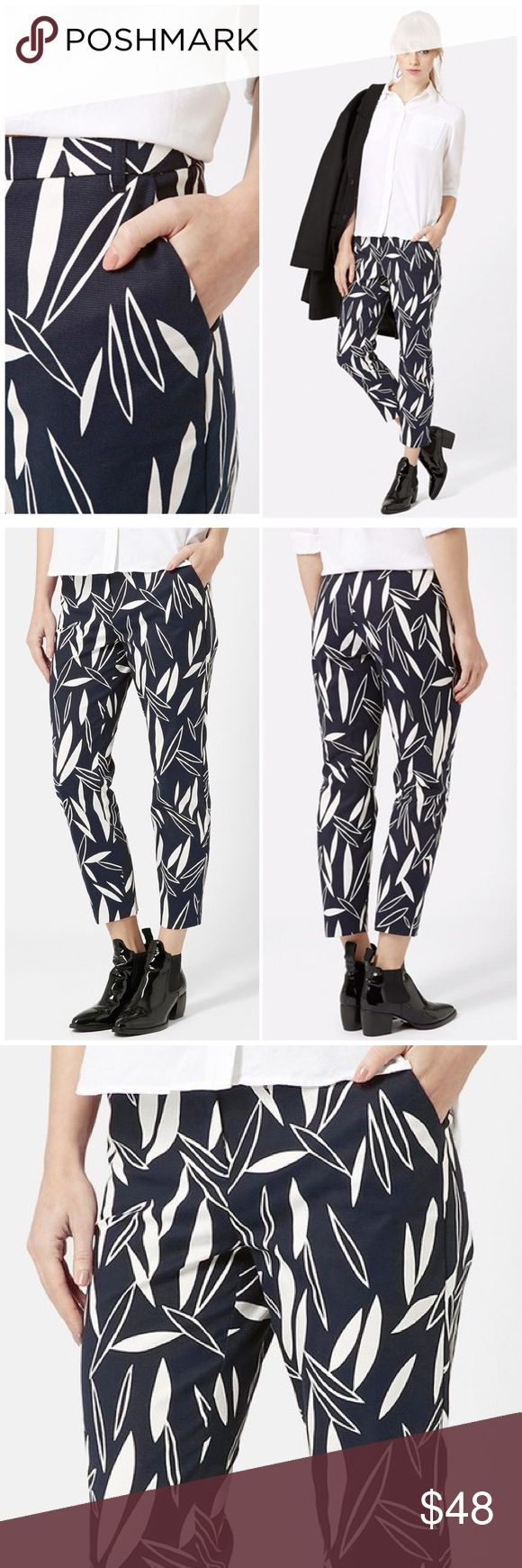 """NWT Topshop Leaf Print Cigarette Trouser Tailored pants in a classic cigarette silhouette feature a textured stretch-cotton fabrication in a graphic cape-leaf print. 26"""" inseam; 12"""" leg opening; 10"""" front rise; 14"""" back rise (size 8). Zip fly with hook-and-bar closure. Front slant pockets. 98% cotton, 2% elastane. Topshop Pants Ankle & Cropped"""