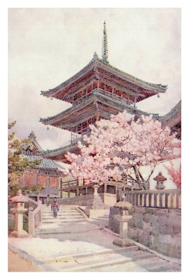 """""""The Pagoda, Kyomidzu"""" by Ella Du Cane shows the traditional building style of ancient Japan to great effect. Although partially hidden by a cherry tree, the subject of the painting rises majestically above and almost compels you to move closer. A wonderfully simple and yet deceptively detailed image."""