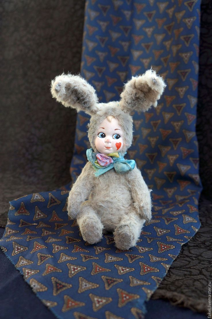 Buy Easter Bunny with Teddy-doll with antique porcelain head - Teddy Doll