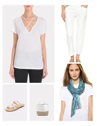 Inspired by the Mediterranean isles, the color palette of this breezy spring/summer look plays with the palette of white accented with blues. LNA tee has an appealing cross-strap detail at the neck and the Missoni scarf is a study in light weight perfection woven with varying hues of blue and aqua.