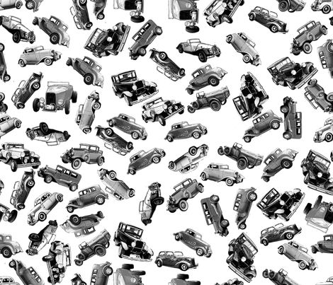 black and white ditsy vintage cars fabric by koalalady on Spoonflower - custom fabric