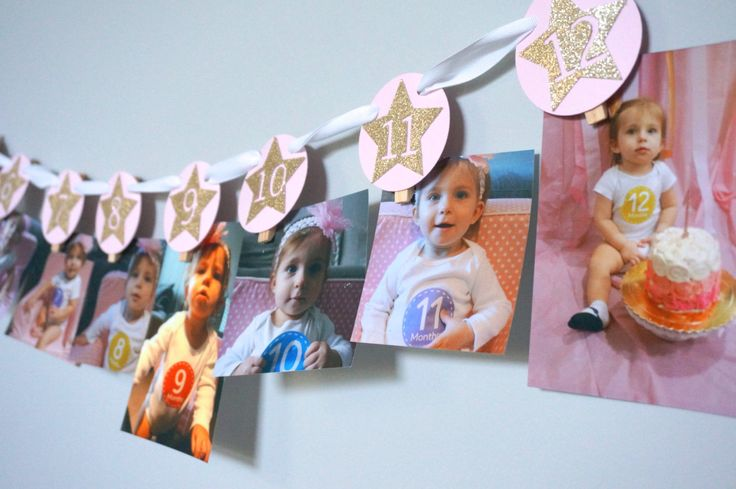First Birthday Twinkle Twinkle Little Star 12 Month Photo Picture Banner in Pink with Gold Stars by ForTheLoveOfRosie on Etsy