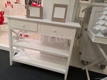 J-Line Witte houten console met 2 lades en kruisen wit 105