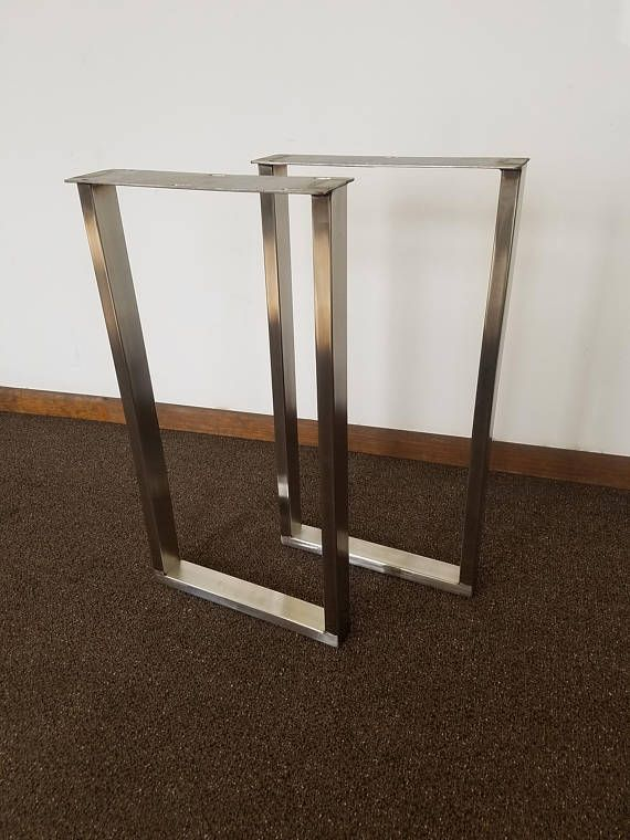 """These brushed stainless steel table legs add a unique modern style to any custom project or retro-fit. These legs are made to order to your requested width and height, up to a maximum height and width of 30"""". Larger sizes can be built upon request, but additional shipping charges may apply. Inquire for details. This product is offered with several different tubing sizes the legs can be made from. The larger the tubing size, the bulkier, stronger, more rigid the legs will be. Our unique shop…"""
