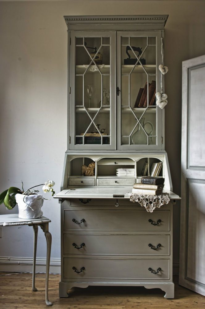 Antique Shabby chic Vintage Bureau/Writing Desk Annie Sloan  'Paris Grey`