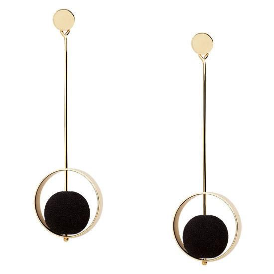 The stunningbon-bonsof volcanic lava set against the contemporary, gold architectural design will help you turn heads for all the right reasons.  For the woman who is the ENEMY of ORDINARY! #earrings #bonbons #dangle earrings #drop earrings #black