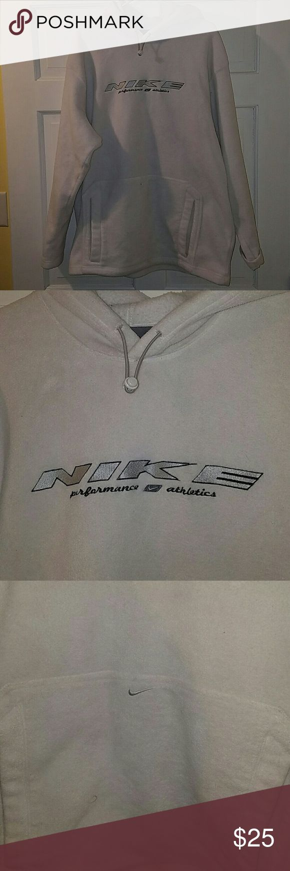 Nike Fleece Hoodie Good to Excellent condition. Bright white, no stains or discoloration that I can tell. Nike Shirts Sweatshirts & Hoodies
