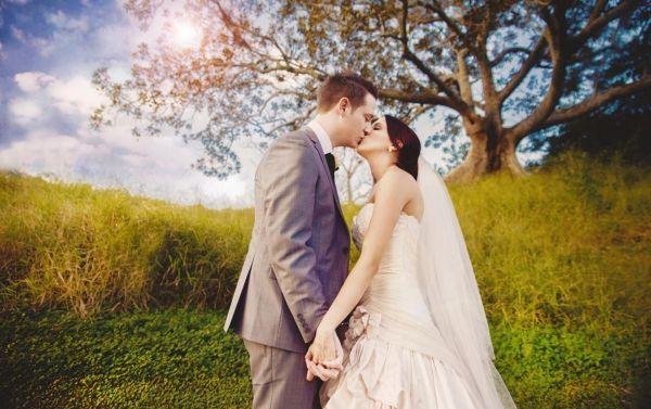 Most beautiful wedding photo under huge tree. Bride and groom kissing. Love wedding