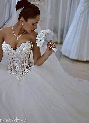 Gorgeous White Pearl Rhinestone Sparkly Ball Gown Wedding Dresses 2-18 Customize