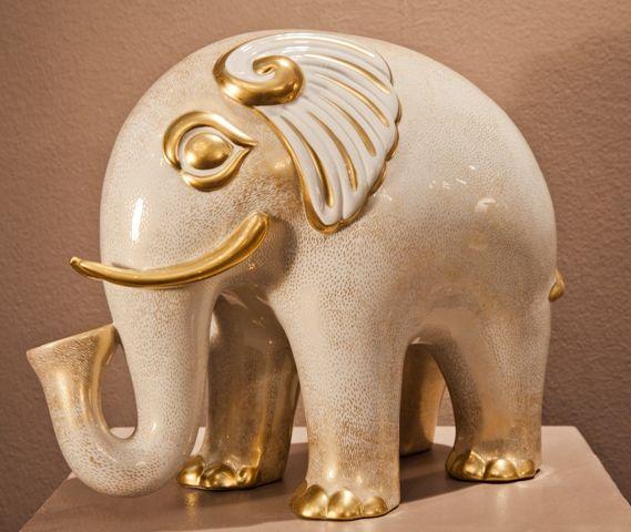 Porcelain Elephant, painted gold