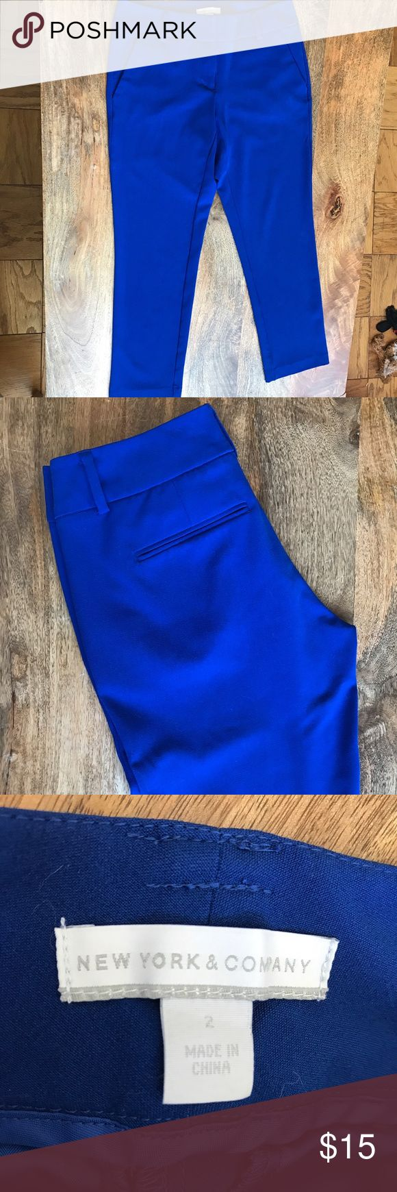 New York & Co. Blue Dress Pants Perfect for the office! These bright blue ankle length trousers by NY&Co. are a great statement piece! Slight stretch. New York & Company Pants Trousers