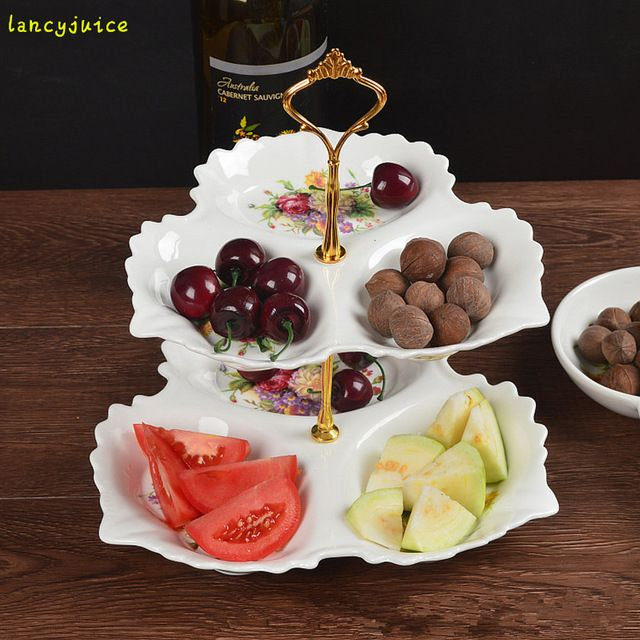 Avrupa seramik çift meyve tabağı kek raf ikindi çayı iki katmanlı tatlı tabağı moda hediye