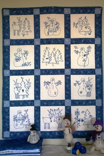 Picture of Snowmen & Reindeer Machine Embroidery Quilt