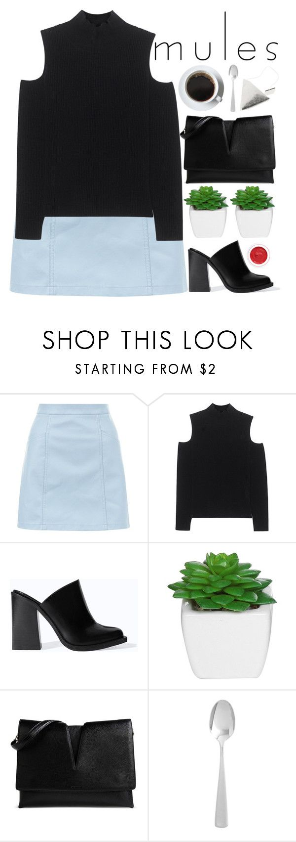 """""""MULES - POLYVORE CONTEST"""" by evangeline-lily ❤ liked on Polyvore featuring New Look, The Mercer N.Y., Zara, Jil Sander, Pier 1 Imports, rms beauty, zara, mules and Spring2017"""