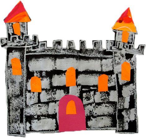 kastelen met stenenprint gemaakt door spons-afdrukken.