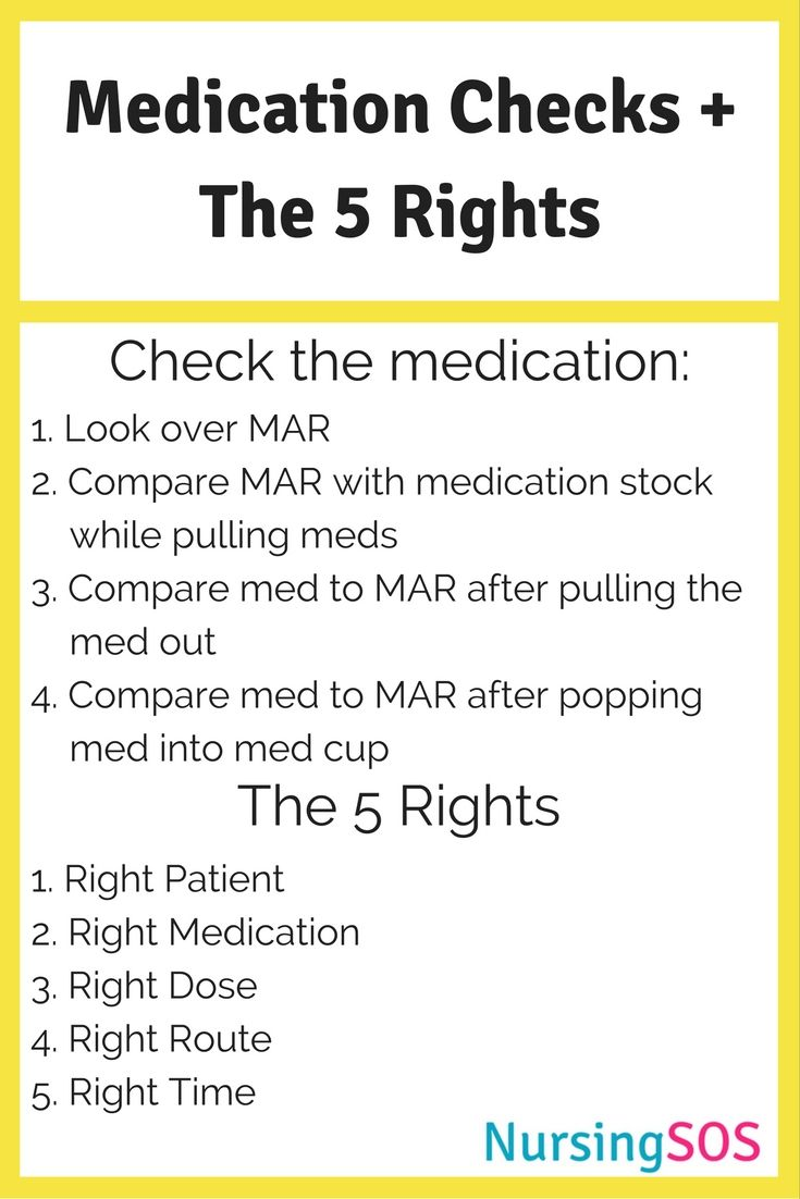 Medication Checks + The Five Rights of Medication Administration You Must Know in Nursing School. Click through to get this FREE printable. Take this Med Checks + 5 Rights cheat sheet to clinical and go be a nursing rockstar!