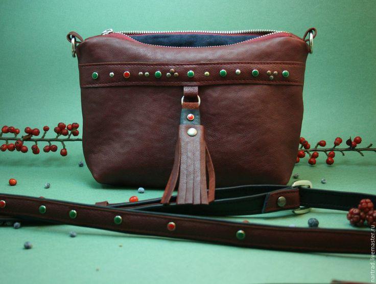 Купить Кожаная сумочка Ягоды - сумочка через плечо, сумочка ручной работы, маленькая сумочка