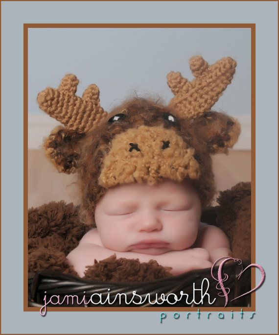 Baby Moose Hat, Crochet Moose Hat Newborn by PreciousMomentsProps, $30.00