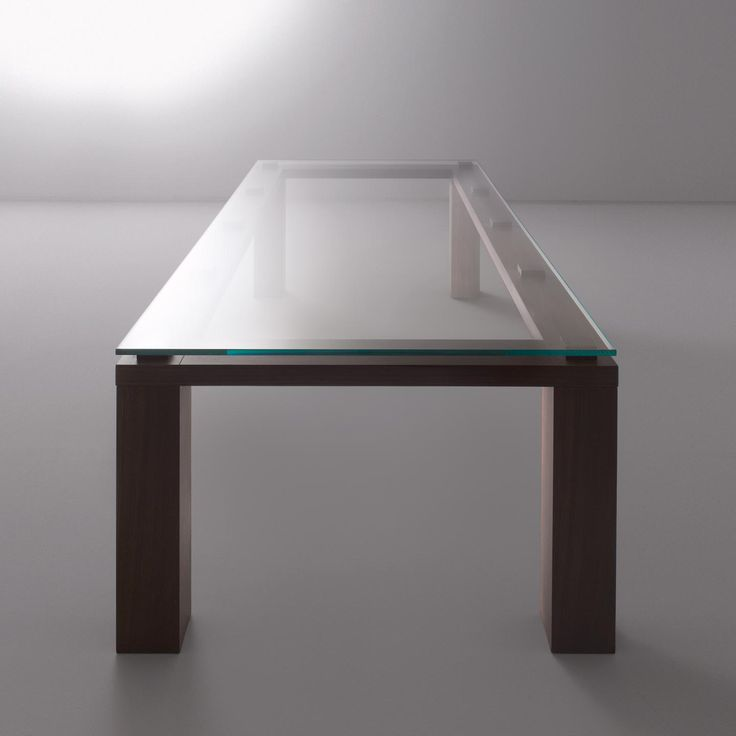 Table BD 01 by Bartoli Design. Rectangular table produced in all sample woods, clear crystal top, made to measure. | Laurameroni