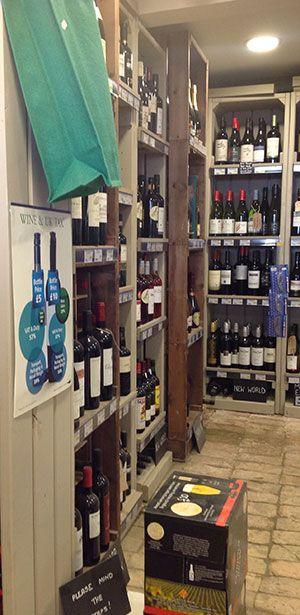 Local store rustic wine display, in kent