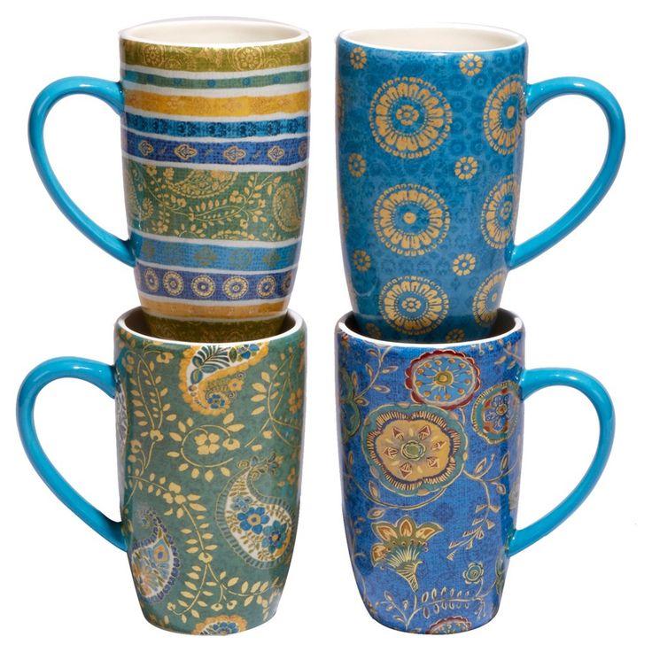 Certified International Exotic Garden by Lisa Audit Ceramic Latte Mugs 16oz Blue - Set of 4